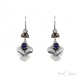 Pearls and Blue Stones Vintage Style Silver Earrings