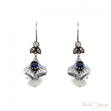 Orecchini Stile Vintage Perle e Pietra Blu in Argento