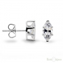 Cubic Zirconia Stud Silver Earrings