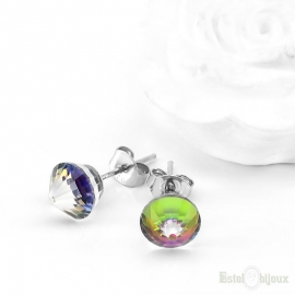 Multicolor Swarovski Stud Silver Earrings