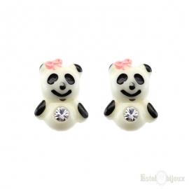 Orecchini Orsetti Panda a perno in Argento 925