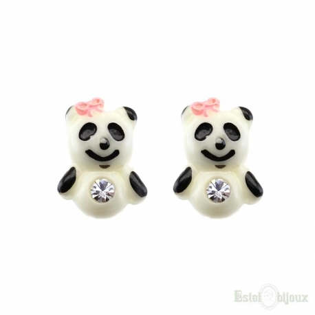 Bear and CZ Silver Stud Earrings