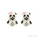 Panda Bear and CZ Silver Stud Earrings
