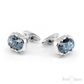 Cufflink Men Cracked Light Blue Crystals
