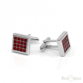 Square Red Enamel Men Cufflink
