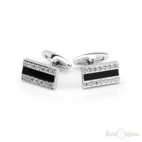 Black Enamel and Crystals Men Cufflink