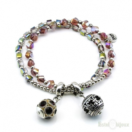 Balls Charms and Crystals Elastic Bracelet