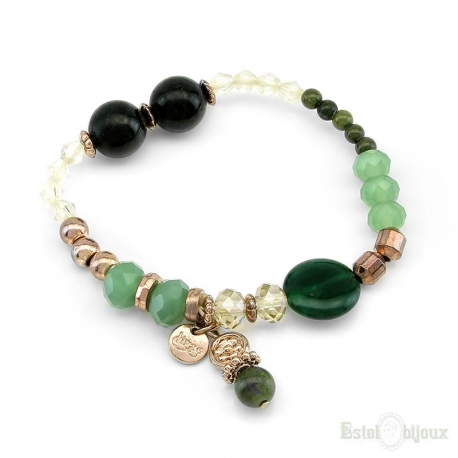 Green Stones and Crystals Elastic Bracelet