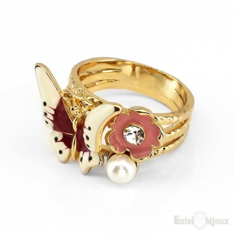 Butterfly and Flower Crystals Gold Plated Ring
