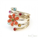 Flower and Crystals Gold Plated Ring