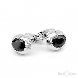 Black Crystals Men Cufflink