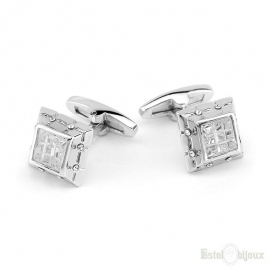 Cufflink Men Cracked Light Crystals