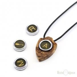 Vintage Necklace Letter Initial Pendant Wood Olive