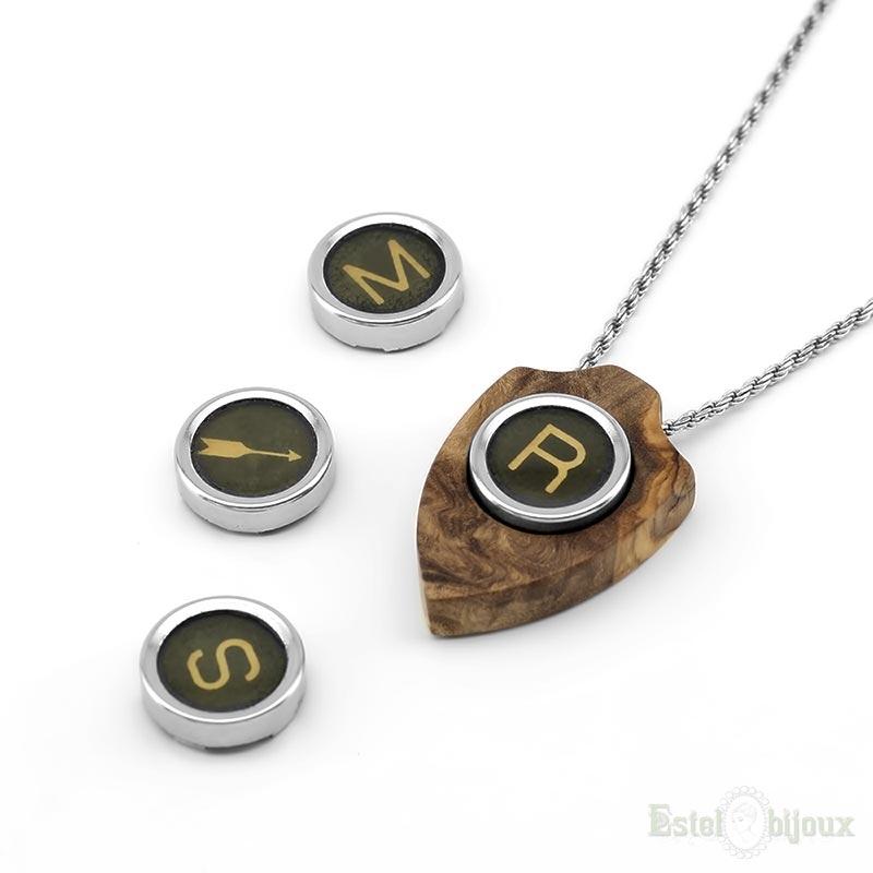 Vintage necklace letter initial pendant wood olive sterling silver vintage necklace letter initial pendant wood olive mozeypictures Gallery