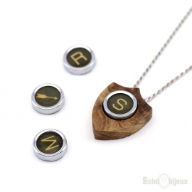 Vintage Necklace Letter Initial Coat of Arms Wood Olive
