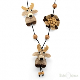 Deer and Flowers Felt Necklace