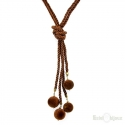 Wire with Balls Brown Velvet Necklace
