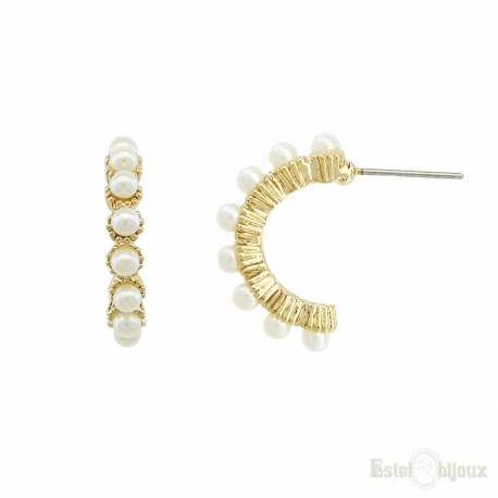 Semi Circle Gold Plated Stud Earrings