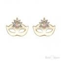 Mask Carnival Gold Plated Stud Earrings