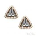 Triangle Strass Gold Plated Stud Earrings