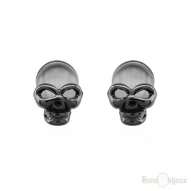 Black Small Skull Stud Earrings