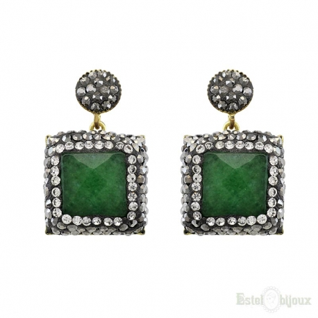 Square Green Jade and Strass Earrings