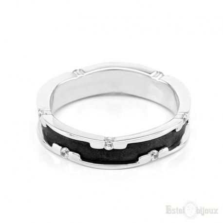 Black IP CZ Stainless Steel Ring