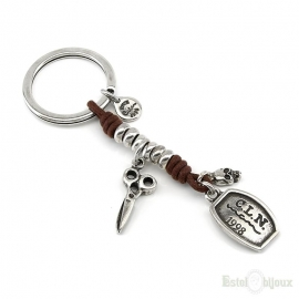 Scissors and Skull Key Chain