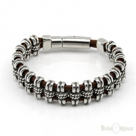 Leather and Silver Metal Men Bracelet