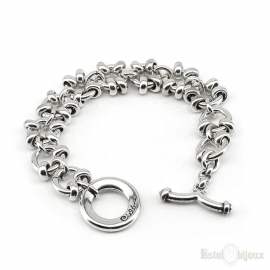 Large Chain Silver Metal Women Bracelet