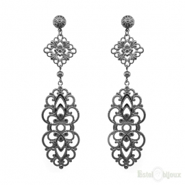 Long Pendants Filigree Black Earrings