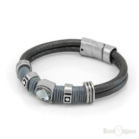 Big Crystal Leather Bracelet