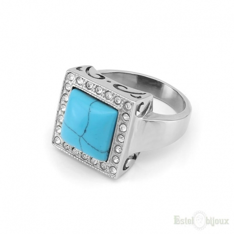 Turquoise and Crystals Stainless Steel Ring