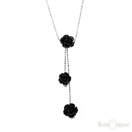 Three black roses silver necklace jewelry italy shop online three black roses silver necklace aloadofball