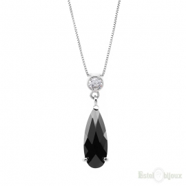 Black Drop CZ Silver Necklace