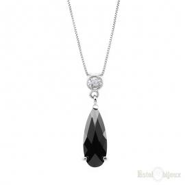 Black Drop CZ Silver Necklace