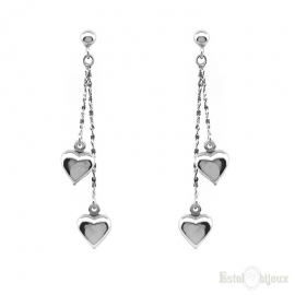 Two Hearts Pendants Silver Earrings