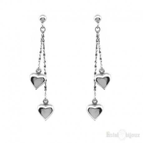 Two Hearts Pendants Silver Earrings