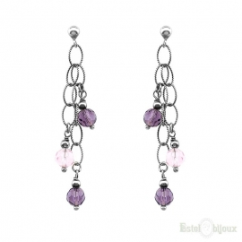 Purple Pendants Silver Earrings