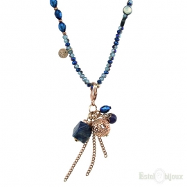 Blue Stones and Crystals Pendants Necklace