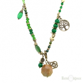 Green Stones and Crystals Pendants Necklace