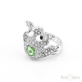 Crystal Frog Good Luck Gold Plated Ring