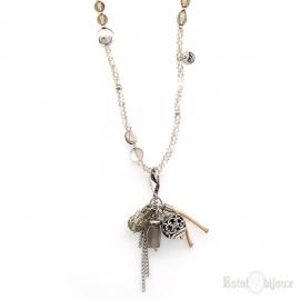 Collana Pietre Grigie e Cristalli con Ciondoli