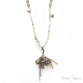 Grey Stones and Crystals Pendants Necklace