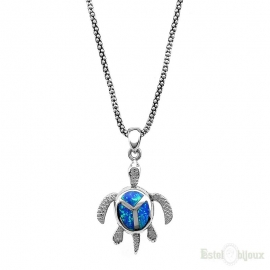 Sea Turtle Blue Opal Silver Necklace