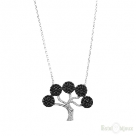 Black Tree of Life Silver Necklace