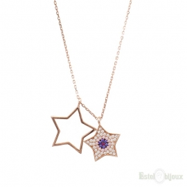 Collana Due Stelle e Strass in Argento 925