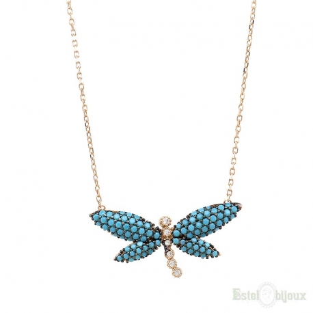 Blue Dragonfly Turquoise Strass Silver Necklace