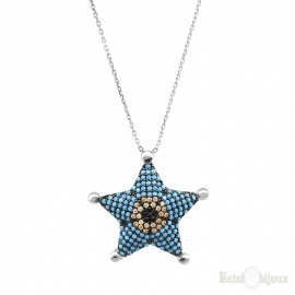 Blue Star Turquoise Strass Silver Necklace