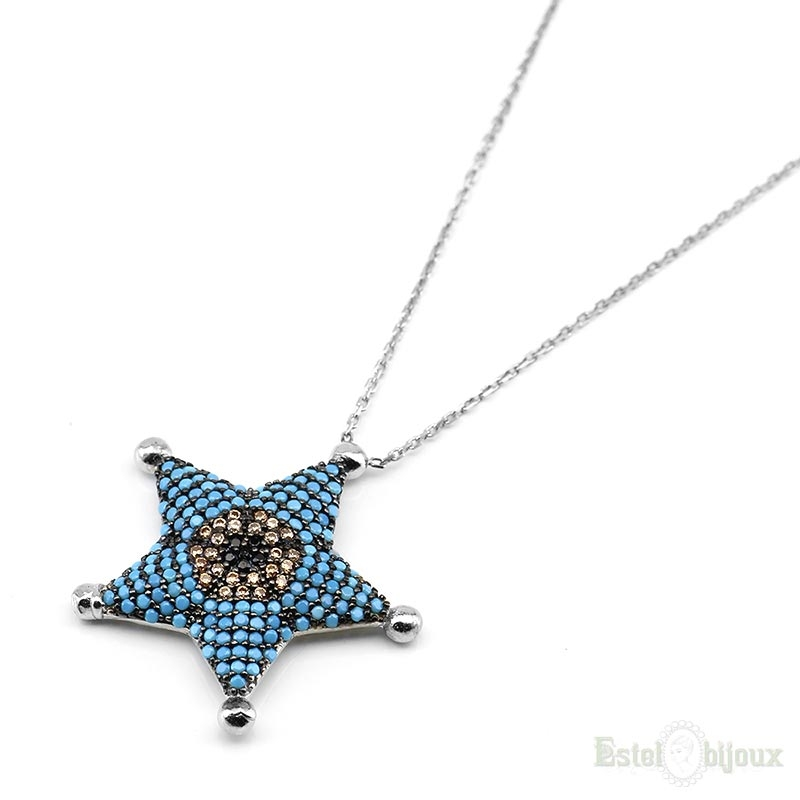 necklace sterling sapphire pendant blue silvergold natural star gold silver
